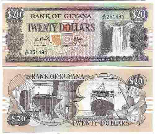 Billete guyana 20 dolares, papel moneda unc