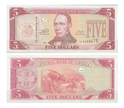 Billete liberia 5 dólares 2009 papel moneda unc