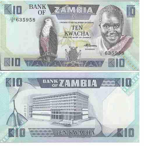 Billete zambia 10 kwacha 1986 papel moneda unc