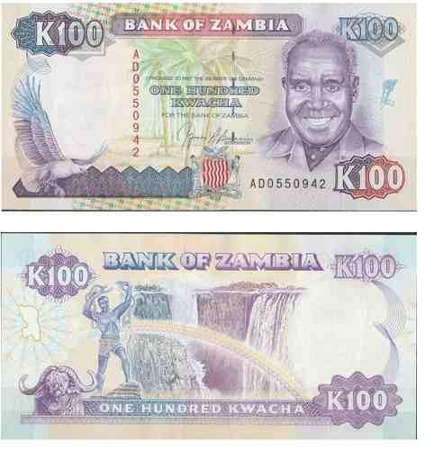 Billete zambia 100 kwacha 1991/1992 papel moneda unc