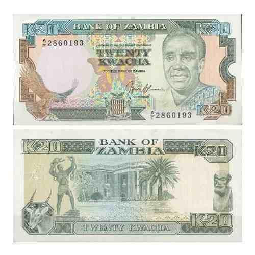 Billete zambia 20 kwacha 1989 papel moneda unc