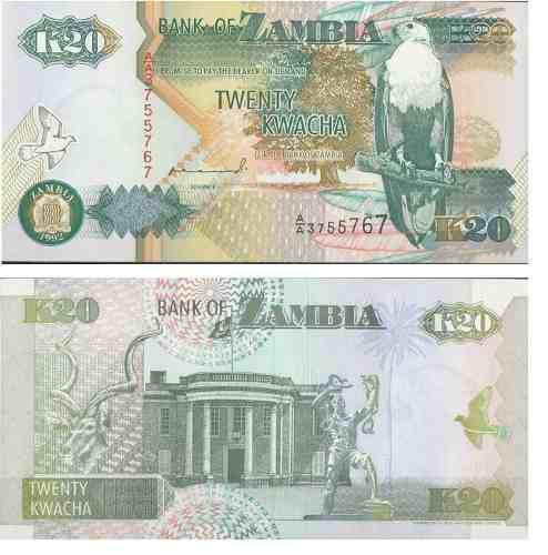 Billete zambia 20 kwacha 1992 papel moneda unc