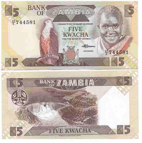 Billete zambia 5 kwacha 1986/1988 papel moneda unc