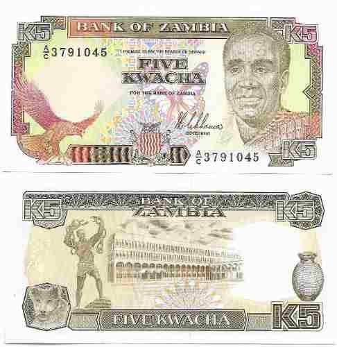Billete zambia 5 kwacha papel moneda unc