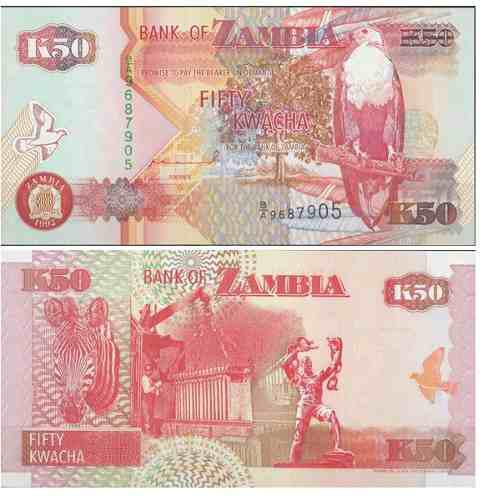 Billete zambia 50 kwacha 1992 papel moneda unc