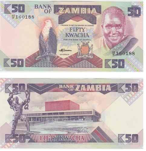 Billete zambia 50 kwacha 1992/1986 papel moneda unc