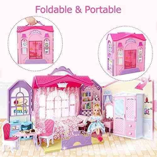 Casa muñecas plegable + muebles incluye 70 accesorios crear