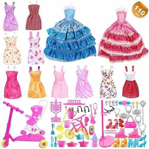 Eutenghao 110 pcs muñeca barbie original ropa y accesorios