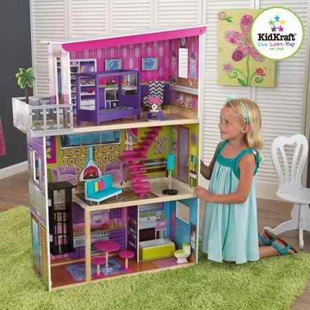 Linda casa de muñecas con accesorios - importada