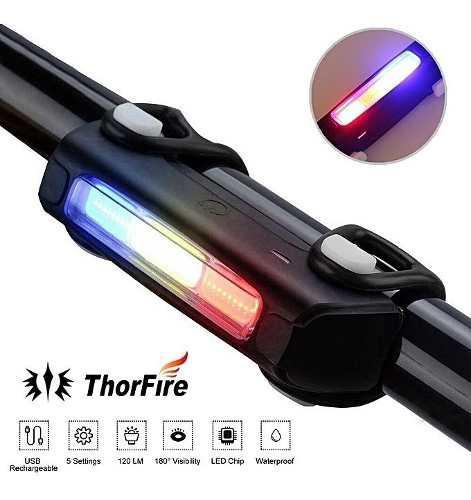 Luz trasera recargable bicicleta 3 colores en 1 luz
