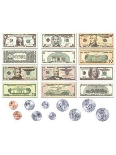 Monedas de la moneda de los ee uu y billetes figuras de fiel