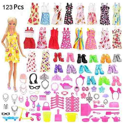 Pack 132 piezas de ropa y accesorios barbie muñeca vestidos