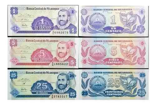 Trio billetes nicaragua, centavos cordoba papel moneda unc
