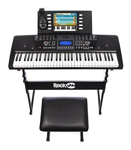 Super kit teclado organeta de piano, silla, base y audifonos