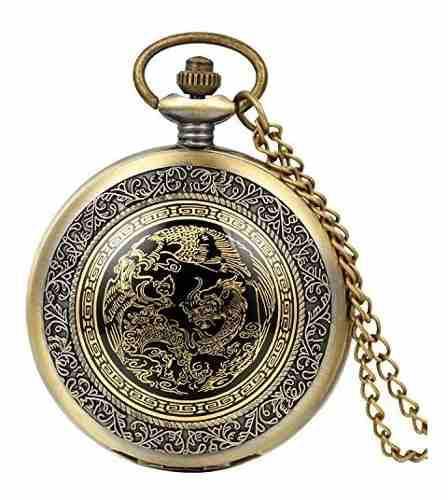 Avaner mens dragon phoenix cuelgan de bronce antiguo reloj d