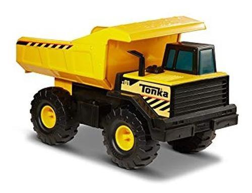 Juguete camion volqueta tonka amarillo de metal y plastico -