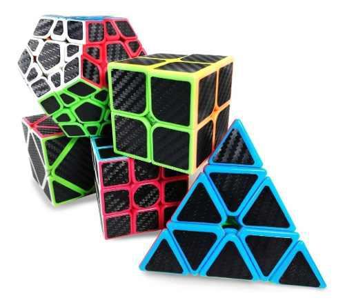 Pack 5 cubos z-cube carbono 2x2 3x3 megaminx pyraminx skewb