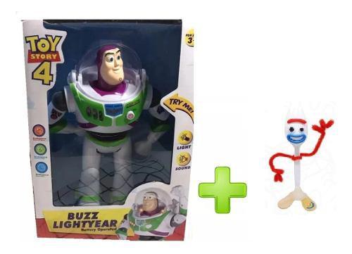 Toy story 4 buzz lightyear, juguete luz sonido + forky ajd