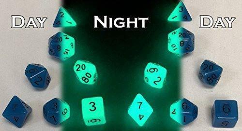 Dos juegos de 7 dados de rol glow in the dark