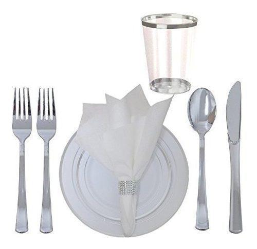 Juego de vajilla de mesa de plastico desechable de 360 rrpie