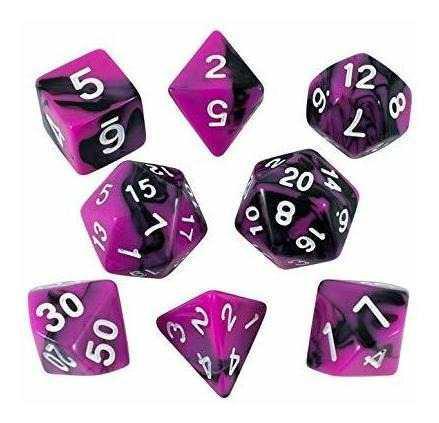 Paladin juego de rol magenta y dados negros set de poliedral
