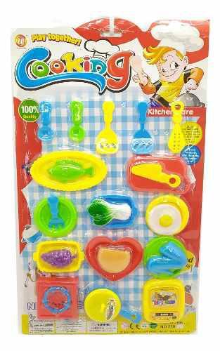 Set juego cocina vajilla cubiertos juguete niñas 19 pi