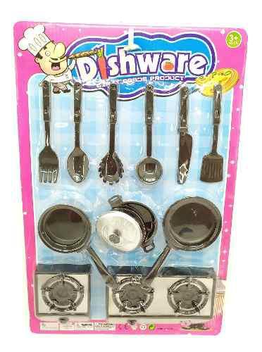 Set juego cocina vajilla fogón cubiertos juguete niña