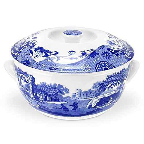 Spode azul italiano redondo cubierto plato profundo