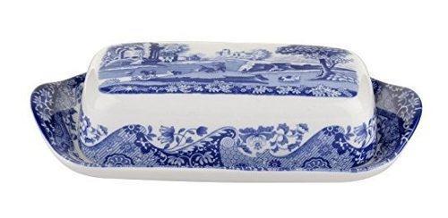 Spode blue plato de mantequilla italiano cubierto