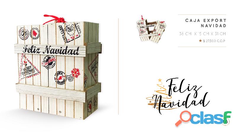 Caja de madera para ancheta navideña