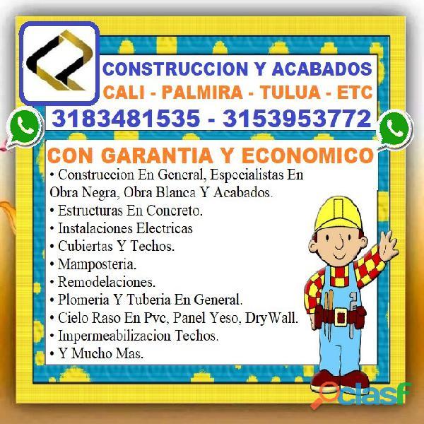 ⭐ albañil cali, maestro de obra, plomero, electricista, pintor, enchapador, cielo raso en pvc, panel