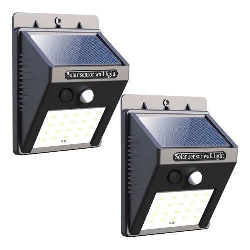 2 lamparas solar 20 led sensor movimiento jardin mnr