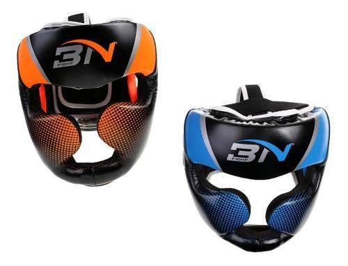 2 piezas casco de boxeom artes marciales mma naranja + azul