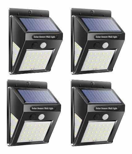 4 luces solares pared 40 led 3en1 altas bajas exteriores mnr