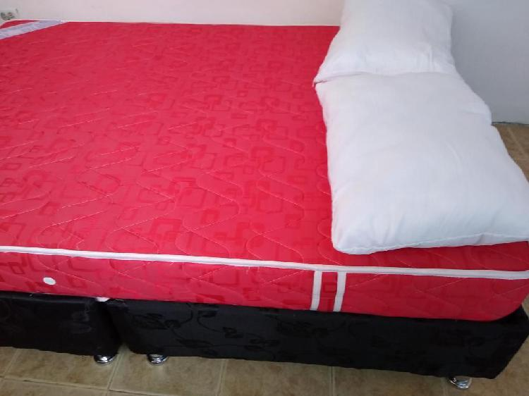 Base cama doble con colchón ortopedico