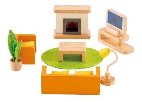 Casa de muñecas juego de sala de prensa muebles de madera