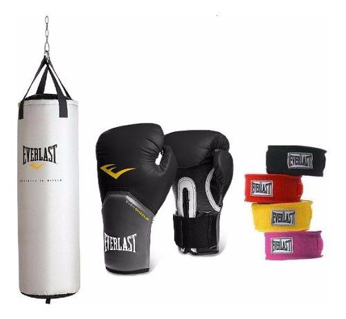 Combo tula de boxeo + guantes boxeo+ vendas everlast