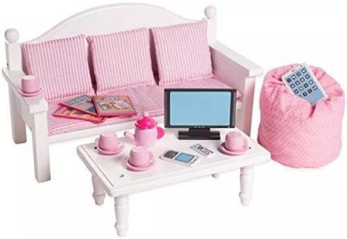 Juego de mesa y sofá de 18 pulgadas para muebles de muñec