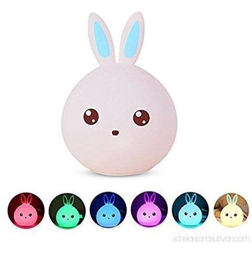 Lampara conejo silicona suave led cambia colores ilumina