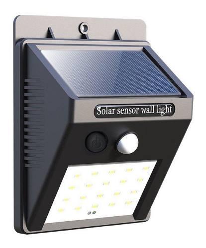 Lampara solar 20 led sensor movimiento jardin patio mnr