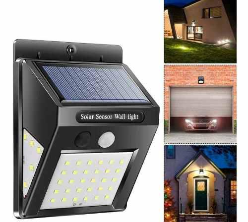 Lampara solar pared 40 leds 3en1 altas bajas impermeable mnr