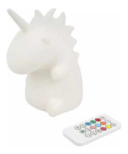 Lampara unicornio silicona led colores recargable + control