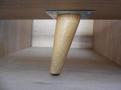 Pata cónica de 12.5 cm en roble natural para muebles
