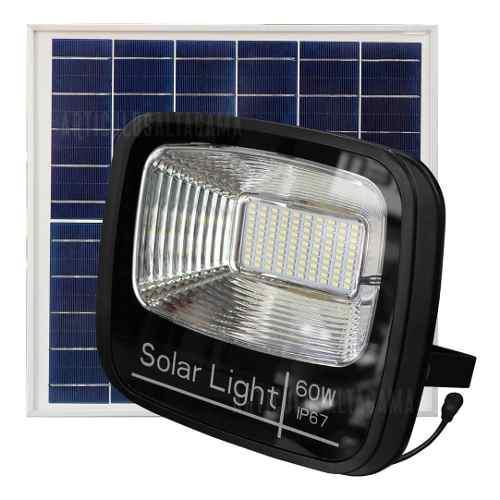 Reflector led con panel solar 60w recargable ip67 potente