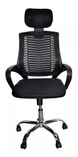 Silla de oficina ejecutiva en malla negra ergonómica