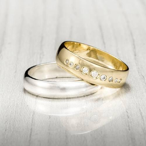 Argollas Matrimonio Plata 950 Diamante Swaroski