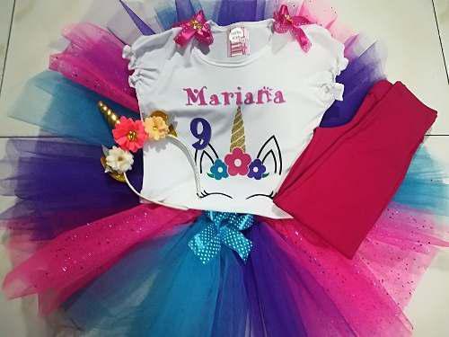 Conjunto tutu niña personalizado unicornio con nombre