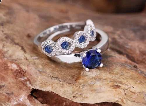 Set Anillos Azul Zirconia 2 Piezas Mujeres 925 Plata 6,7,8,9
