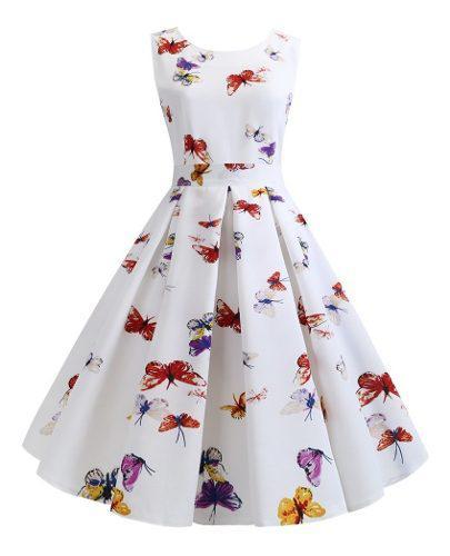 Vestido elegante vintage estampado floral vestido de verano