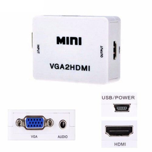 Convertidor / adaptador vga a hdmi + audio - pc y